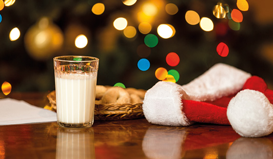 santa's hat with milk and cookies